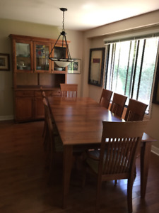 Shermag Dining Table Set with 8 chairs and Storage Hutch