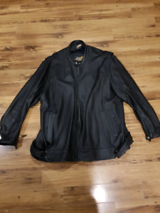 Mens leather motorcycle jacket (5X) and vest (2X)
