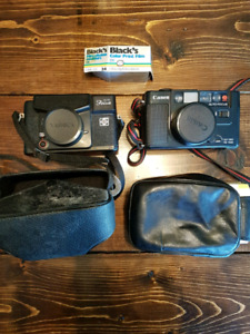 Canon and Yashica Cameras, film and carrying cases