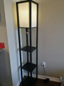 Tall Floor Lamp with White Poly/Cotton Shade, Black Pine Wood