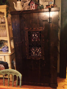 """Hand Crafted """"Confessional Style"""" Large Armoir/Cabinet/Cast Iron"""