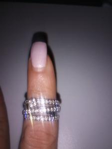 Bague multi-joncs - Or blanc 14k et Diamants véritables