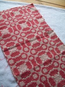 ANTIQUE OVERSHOT COVERLET PIECE BRIGHT PINK  WOOL