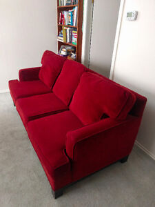 Furniture for sale: two couches, desk, shelving and cradenza