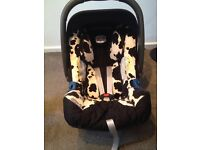 Britax cow hide car seat great condition from birth
