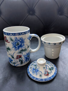 Porcelain Tea Cup With Sieve & Cover