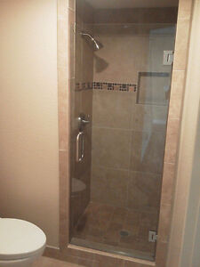 Luxurious Glass Shower Door with Hinges and Handles - New!