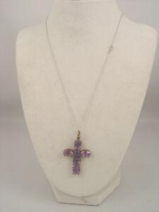 Antique Amethyst Stone Cross Pendant on 10K white Gold Chain