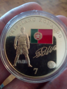 Large 40mm Cristiano Ronaldo Real Madrid C.F. Gold Plated Coin