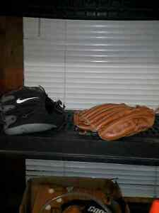 Youth golf clubs and baseball gloves