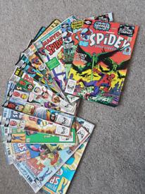 American & English Marvel Spiderman comics hulk team up spidey job lot