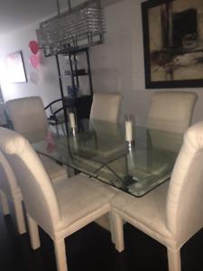 Modern Stone / Glass dinning room set