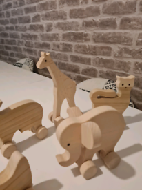 Wooden animals hand carved