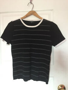 Black and white striped scoop-neck shirt