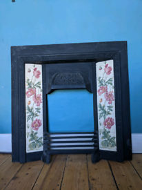 Cast iron, Victorian style fireplace.