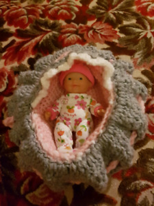 5 in. Baby Doll With Handmade Cradle and Outfits