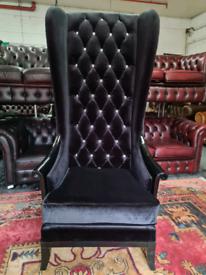 Extra High Black Velvet Chesterfield Queen Anne