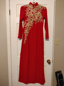 "Red Traditional Vietnamese Silk ""ao dai"" Wedding Dress"
