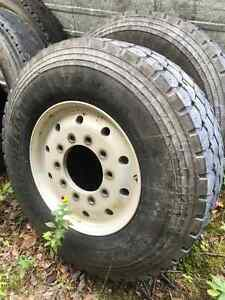 Dump truck tires and wheels.