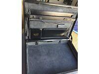 Combination lock black leather briefcase