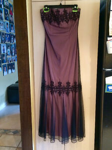 REDUCED!! Beautiful pink gown with sheer black on top