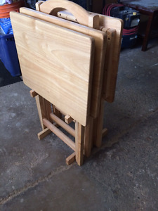 3 solid wood tv trays & stand
