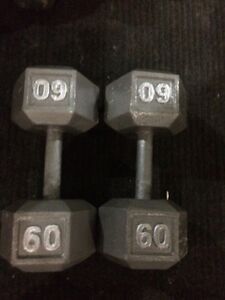 Dumbbells two 60 pounds
