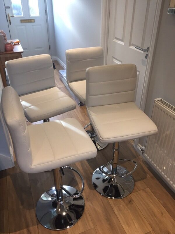 4 White Bar Stools Like New In Oldmeldrum Aberdeenshire