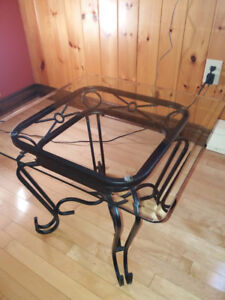 Wrought Iron Coffee Table and Two End Tables with glass tops