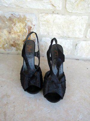 Jellypop Vibrant Women's Black Satin Slingback Open Toe Heels Size 8 1/2 M