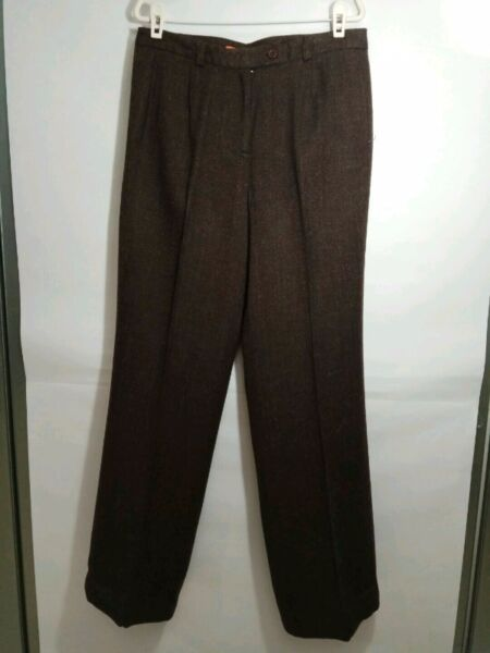 THEME Acrylic and Wool Pants, with full lining (size 38) - Dark Brown