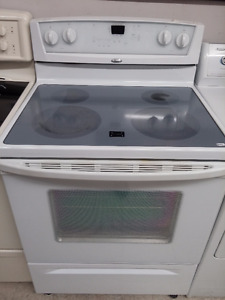 White Whirlpool Flat-Top Stove Self-Cleaning