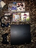 ps3 slim 500GB, 6 jeux et un turtle beach PLA