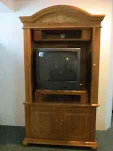 FREE TV - Television. Working. + Wood TV Stand