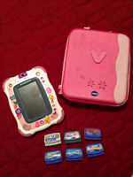 PINK VTECH INOTAB, CASE  AND 6 GAMES