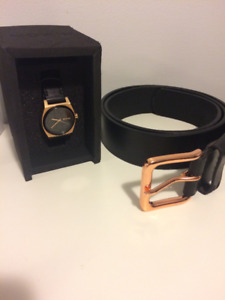 Women's Nixon Time Teller Rose Gold/Cheetah Leather Watch & Belt
