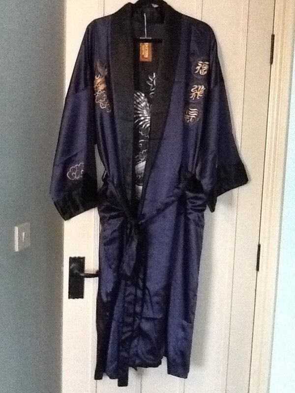 Navy silk large size kimono from Hong Kong - new unwanted gift