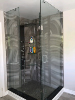 Glass shower glass door glass railings and mirror