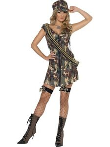 Womens-Size-16-18-Fever-Army-Girl-Fancy-Dress-Combat-Military-Uniform-Costume-L