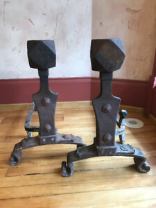Antique Pair Forged Iron Fireplace Andirons