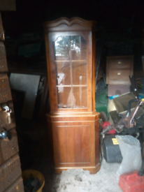 Mahogany corner unit good condition no marks or scratches glass front