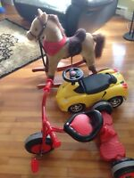 Car,rocking horse, tricycle