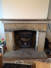 Punch faced York stone fire surround