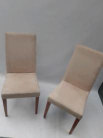 Vintage retro alcantara cream kitchen dining chairs x 2 pair armchairs