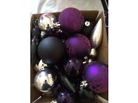 Assorted Christmas baubles & star tree topper
