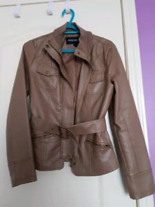 River Island Faux Leather Brown Jacket with belt