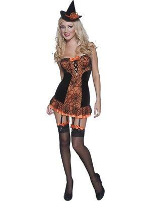 Fever Witch Costume Orange S UK 8/10 *HALLOWEEN CLEARANCE** Ladies Fancy Dress ()