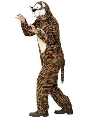 Adult's Tiger Costume Animal Fancy Dress Ladies Mens Funny Outfit - Tiger Fancy Dress Costume