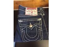 Men's True Religion Brand Jeans. Ricky Super-T. Dark blue, Thick stitch, straight leg. Waist 34