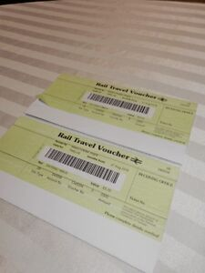 2 boarding passes for UK train system